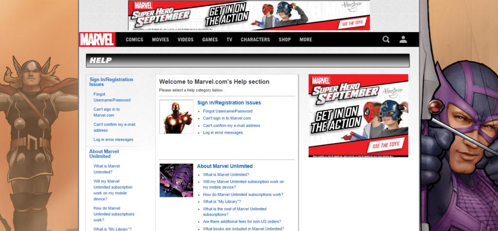 Marvel.com-Help