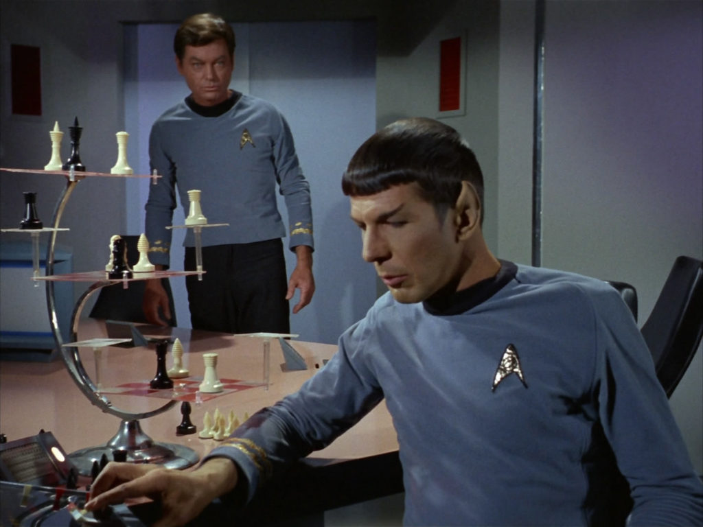 Spock playing chess in star trek