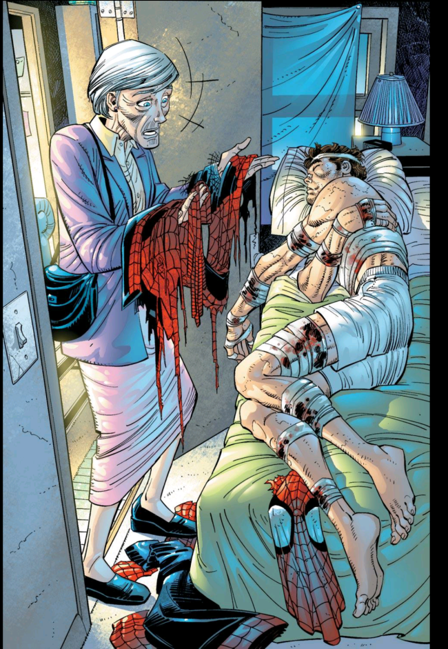 Aunt May discovers Peter's secret