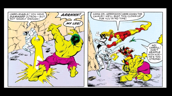 Ultron breaks the hulk's leg