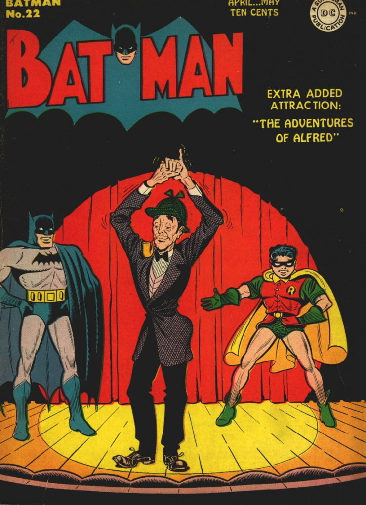 "This Dick Sprang cover is the first Batman cover to feature Alfred, starting his new four page short story feature ""The Adventures of Alfred"" for 13 issues in the 'Batman' publication."
