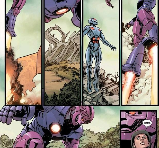 """Hmm."" indeed. What is stopping the Ultrons from hijacking Sentinels flying overhead?!?"