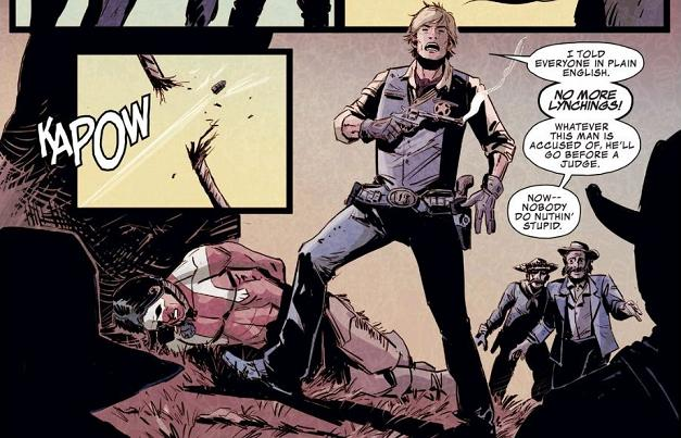 """""""When Sheriff America shoots his mighty bullet..."""" just doesn't have the same """"shield/yield"""" catchiness...."""