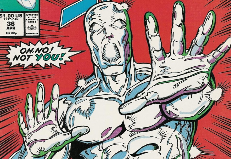 Silver Surfer finds Thanos