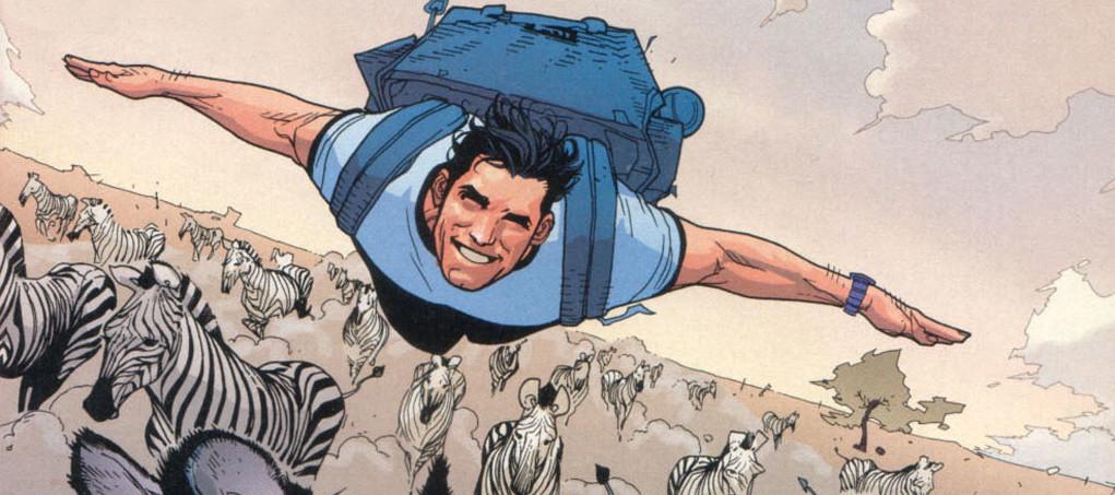 Superman flies with zebras