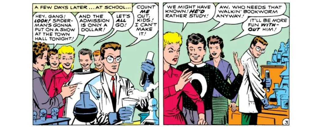 Peter Parker in a dope ass lab coat