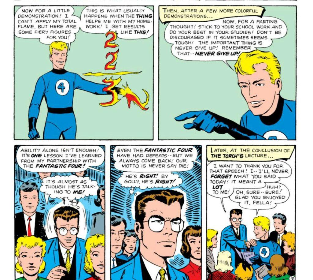 Johnny pep talks Peter Parker