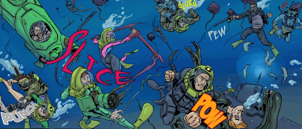 B Squad comic book art