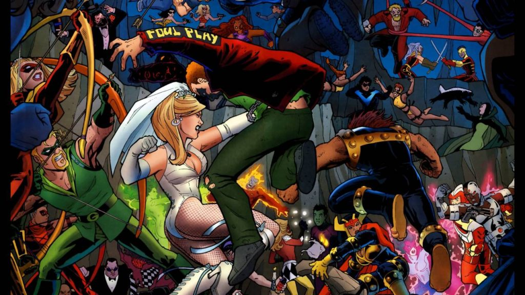 The wedding of black canary and green arrow in DC Comics