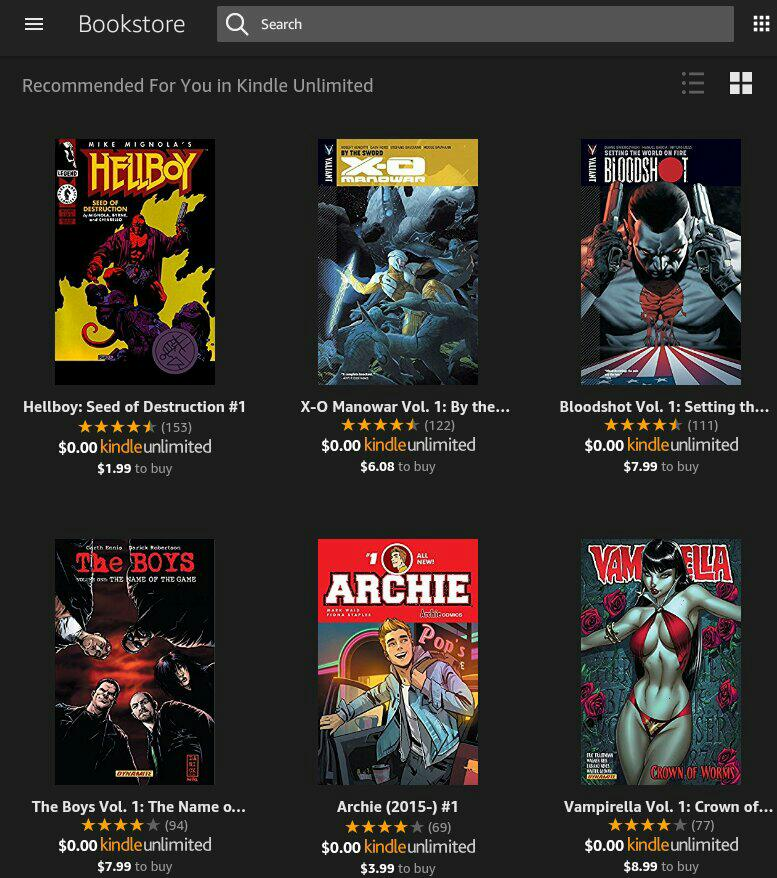 Comic Books on Kindle Unlimited
