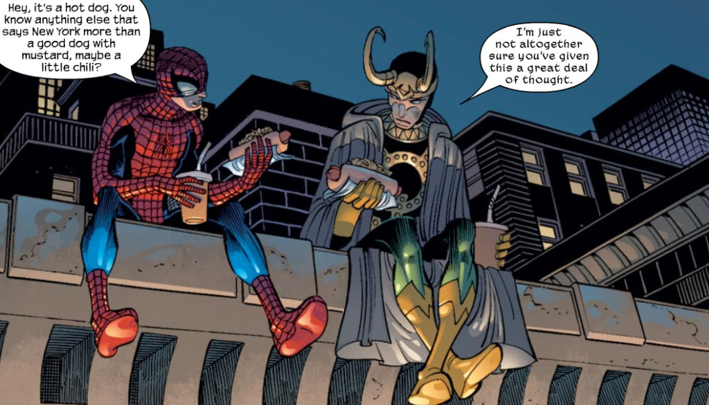 Spider-Man chilling with Loki