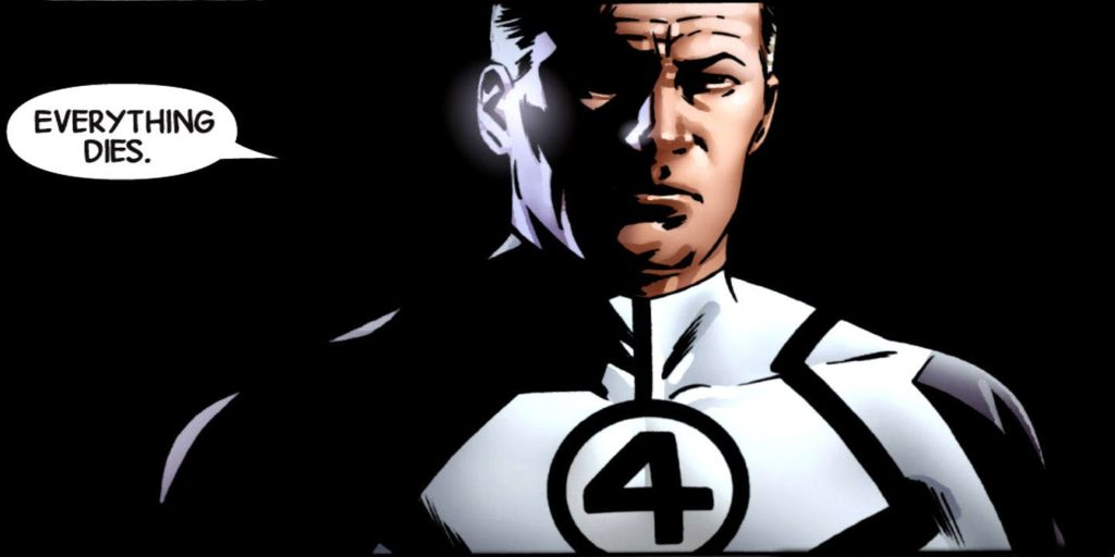 """Reed Richards in New Avengers saying """"Everything Dies."""""""