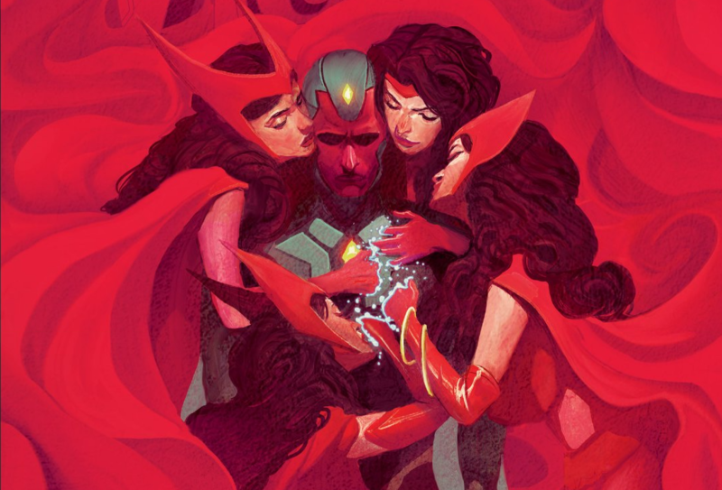 Vision surrounded by memories of Wanda, the Scarlet Witch