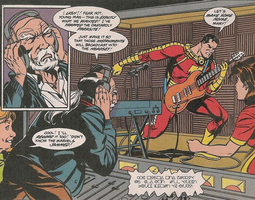 Captain Marvel plays a mighty guitar riff