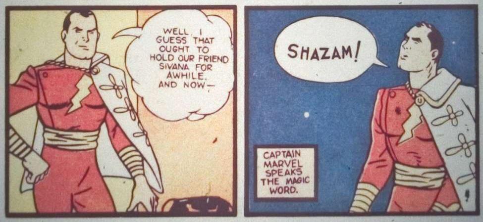 Shazam speaks his magic word in the 1940s comics