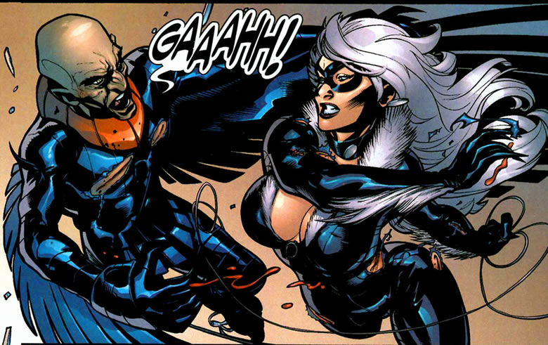 Black Cat fights the Vulture in Marvel Knights Spider-Man