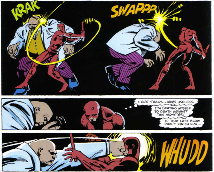 Frank Miller draws Daredevil fighting the Kingpin