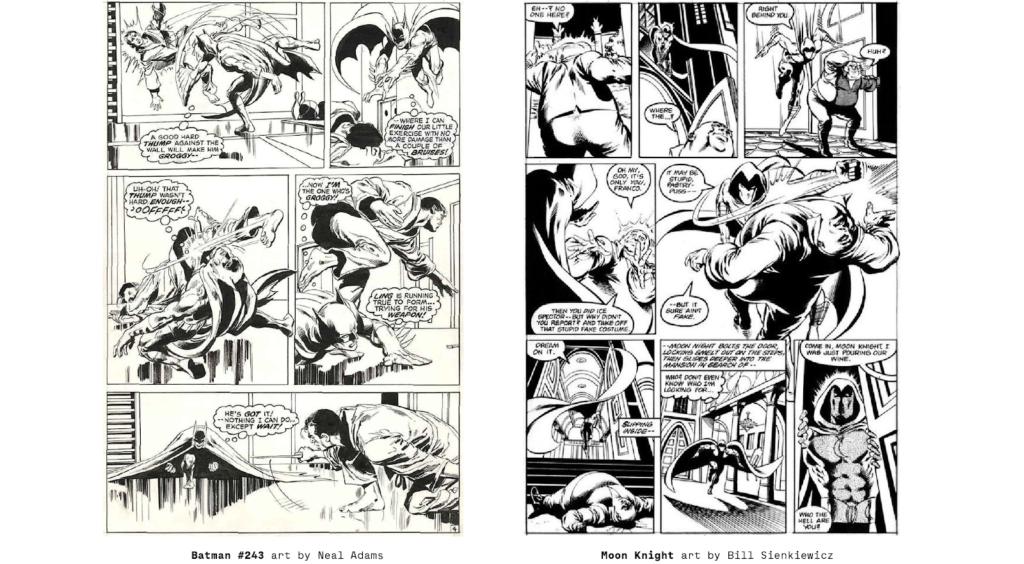 Bill Sienkiewicz process pages on marvel's Moon Knight comic