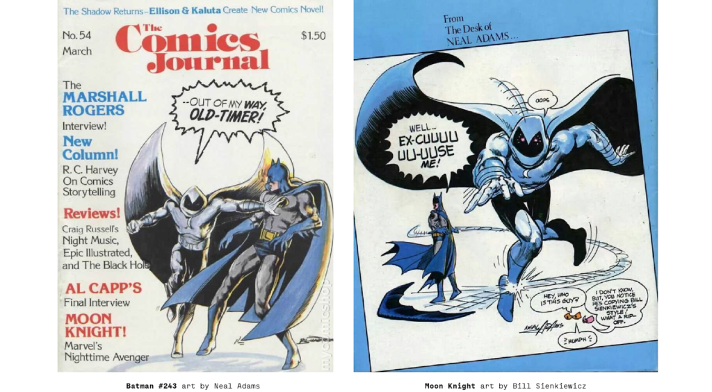 Neal Adams Batman compared to Bill Sienkwicz's Moon Knight