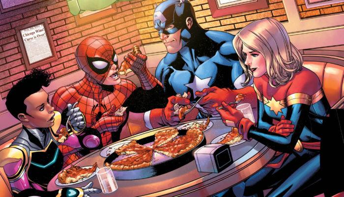 marvel heroes eating deep dish