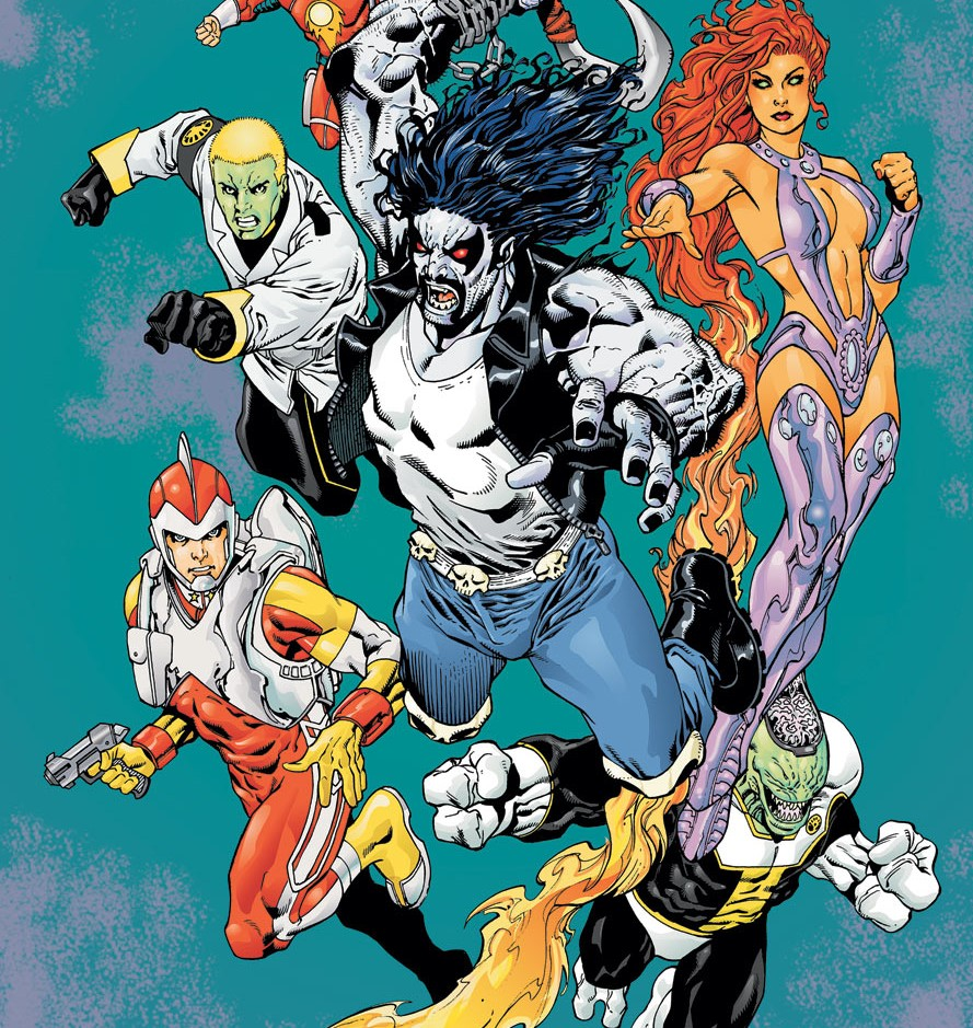 Adam Strange, Lobo, and Starfire team-up