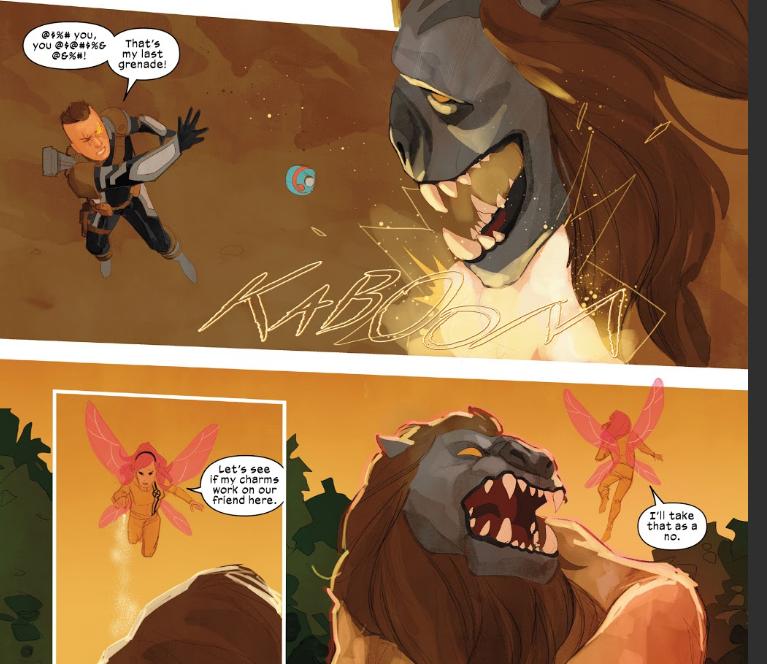 Cable fights beast on Arakko