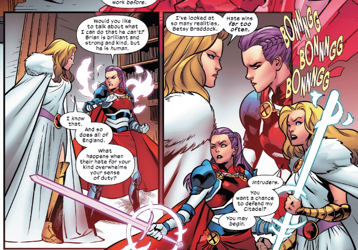 Betsy and Saturnyne in Excalibur #12